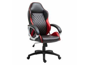 Office Chair Faux Leather Diamond Line Swivel Rocker Desk Chair, Red