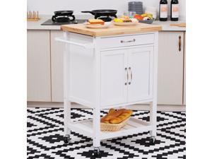 Kitchen Trolley Cart Rolling Cupboard Wood Worktop Towel Rack w/ Drawer