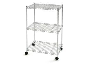 3-Tier Adjustable Steel Wire Shelving Storage Shelf Kichen Cart w/ Lockabe wheel