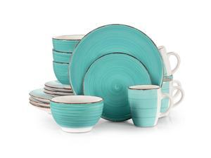 16-Piece Dinnerware Set Ceramic Kitchen Dish Square Dinner Plates Mugs -Sky blue