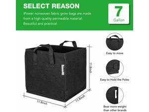 5-Pack Square Grow Bags Thick Fabric Planting Pots with Handles for Garde