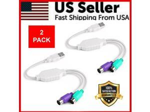 2-Pack Dual PS2 Female To USB Male Converter Adapter Cable For Mouse Keyboard