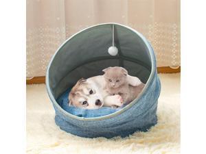 Folding Soft Cashmere Imitation linen Short Plush Cat Bed