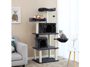 63'' Blue-gray Cat Tower with Sisal-Covered Scratching Posts Cat Play Furniture Multi-Level Cat Tree
