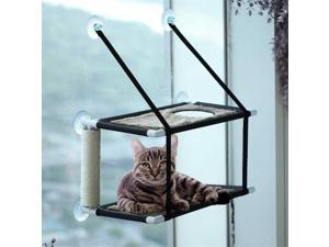 Cat Hammock Bed Cat Window Perch Double Layers Cat Resting Seat with Scratching Post