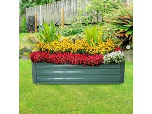 "47.3"" Garden Box Kit Set Fence Raised 4-Panel Galvanized Stee Green"
