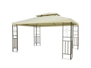 10'x13' Steel Gazebo Po Garden Canopy Vented Roof Cream White
