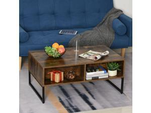 Foldable Wood Lift Top Coffee Table Convertible Furniture with 2 Storage Drawer