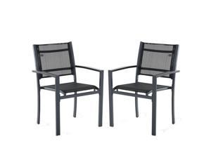 Po Dining Chair Outdoor Mesh Seat Bistro Chairs Set of 2 Durable Black