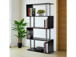 "4-Tires 57"" Wooden Bookcase S Shape Storage Display Unit Home Décor Black"