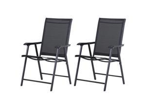 2-PCS Foldable Steel Garden Chairs Outdoor Po Park Furniture