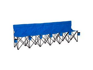 6 Seat Sport Bench Soccer Team Folding Bench Cup Holder w/ Carry Bag Blue