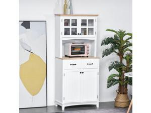 Coastal Style Kitchen Buffet and Microwave Hutch w/ Storage Cabinet  Drawer