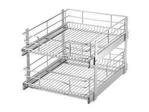 Two-Tier Slide Out Cabinet Organizer Pull Out Under Cabinet Sliding Shelf Chrome