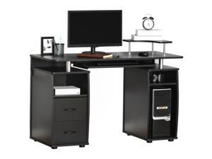 Computer Office Desk Table Workston w/  Keyboard Tray, Drawer, Black