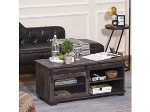Rustic Coffee Table, Sliding Barn Door TV Stand Media Console Storage Cabinet
