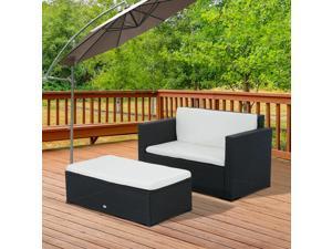 2pc Wicker Loveseat Ottoman Set Rattan Sofa Table Set Outdoor Po Furniture