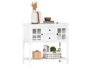 2-Drawer Entryway Console Table Accent Desk with Glass Doors  Shelf