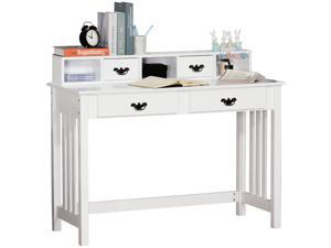Spacious Writing Desk Workston with Upper Shelf Home Office White