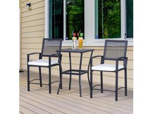 3Pc Rattan Wicker Bistro Set Bar Table High Stool Garden Po Furniture