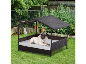 Wicker Pet House Dog Bed for Outdoor Po Rattan Pet Furniture with Cushion