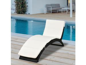 Po Wicker Lounger Reclining Chair Folding Outdoor