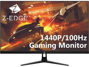 """Z-EDGE UG27Q 27"""" 2K QHD IPS Gaming Monitor, 1440P 2560 x 1440, 100Hz, HDR, FreeSync, Ultrathin Frame, 178° Wide View Angle, Eye-Care Tech, HDMI, DisplayPort, Built in Speakers"""