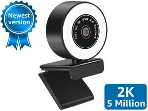 2020 2K Webcam 5MP with Ring Light Microphone, Advanced Auto-Focus, Adjustable Brightness, Web Camera for Windows Mac OS, Plug and Play, for Zoom, YouTube, Skype, Video Call, Conference