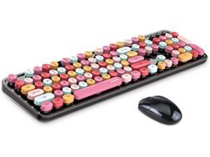 MOFII Wireless Keyboard and Mouse Combo, 2.4G Cute Round Girl Lipstick Retro Round Cap Keyboard Mute Keyboard Mouse Set for Laptop, Computer, Mac (Mixed Color)