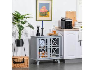 Storage Cabinet Sideboard Serving Buffet Console with Fretwork Doors Kitchen
