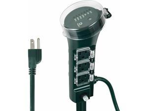 Power Strip Garden Yard Stake Timer with Photocell Till Dawn / ON at Dusk