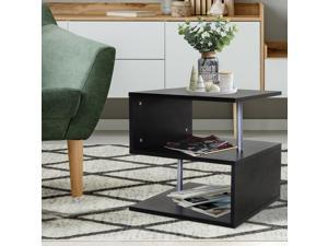 End Coffee Table S Shaped Stand Storage Shelves Organizer Living Room Black