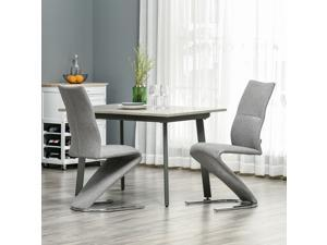 Modern Dining Chairs Accent Chairs w/ Upholstered Seat Solid Steel Base Grey