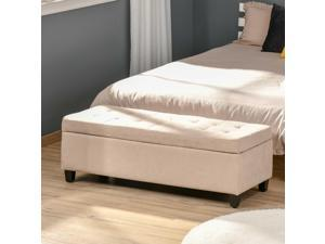 """51"""" Lift Top Storage Ottoman Tufted Fabric Shoe Bench Footrest Stool Seat"""