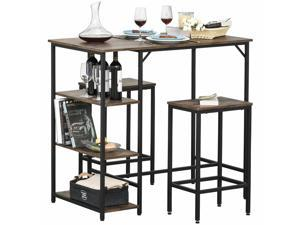 3 Pieces Bar Height Dining Table Set with Storage Shelf  2 Stools