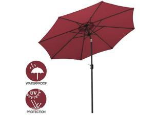 9' Po Umbrella Table Umbrella with 8 Sturdy Ribs Garden Lawn Backyard Red