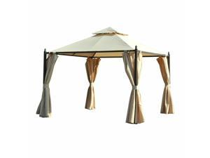 10' x 10' Outdoor Garden Gazebo Canopy Double-tire Sun Shade Shelter w/ Curtains