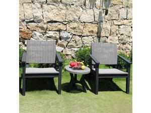 3 PC Rattan Bistro Set Furniture Arm Chair Table for Po