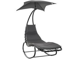 Po Rocking Chaise Lounge Rocking Bed with Canopy Cushion Headrest