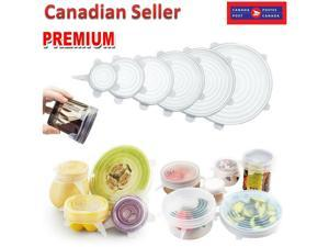 6pcs Reusable Silicone Wraps Seal Bowl Covers Food Saving Storage Stretch Lids