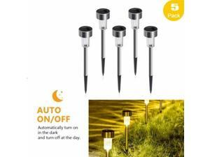 Solar Pathway Lights Outdoor 5 Pack Stainless Steel Waterproof LED Landscape
