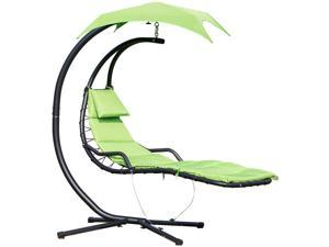 Flong Chaise Lounge Hanging Swing Chair Arc Stand w/ Canopy