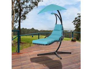 Flong Chaise Lounge Porch Swing Hammock Blue