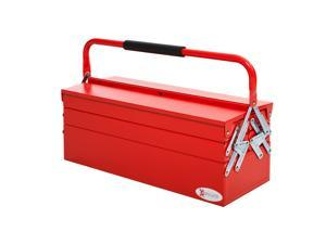 Metal Cantilever Toolbox 5 Tray Storage Organizer w/ Carry Handle Red