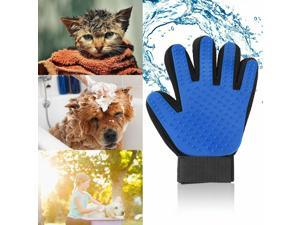 Pet Dog Cat Grooming Glove Brush Dirt Hair Fur Removal Massage Deshedding Blue