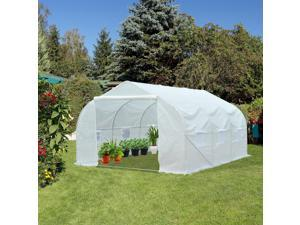 Walk-in Tunnel Greenhouse Planting Shed Portable Backyard White