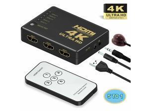 5 Port HDMI 4K Switch Switcher Selector Splitter Hub iR Remote For HDTV 1080p CA