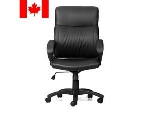 ® High-Back Leather Swivel Office Executive Chair with Armrest, Black
