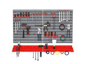 54 Piece Pegboard and Shelf Tool Organizer Wall Mounted Garage Storage