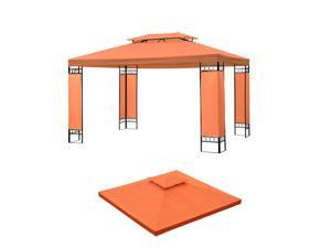 10 x 10' Double Tier Gazebo Replacement Top Canopy Po Pavilion Sunshade Cover